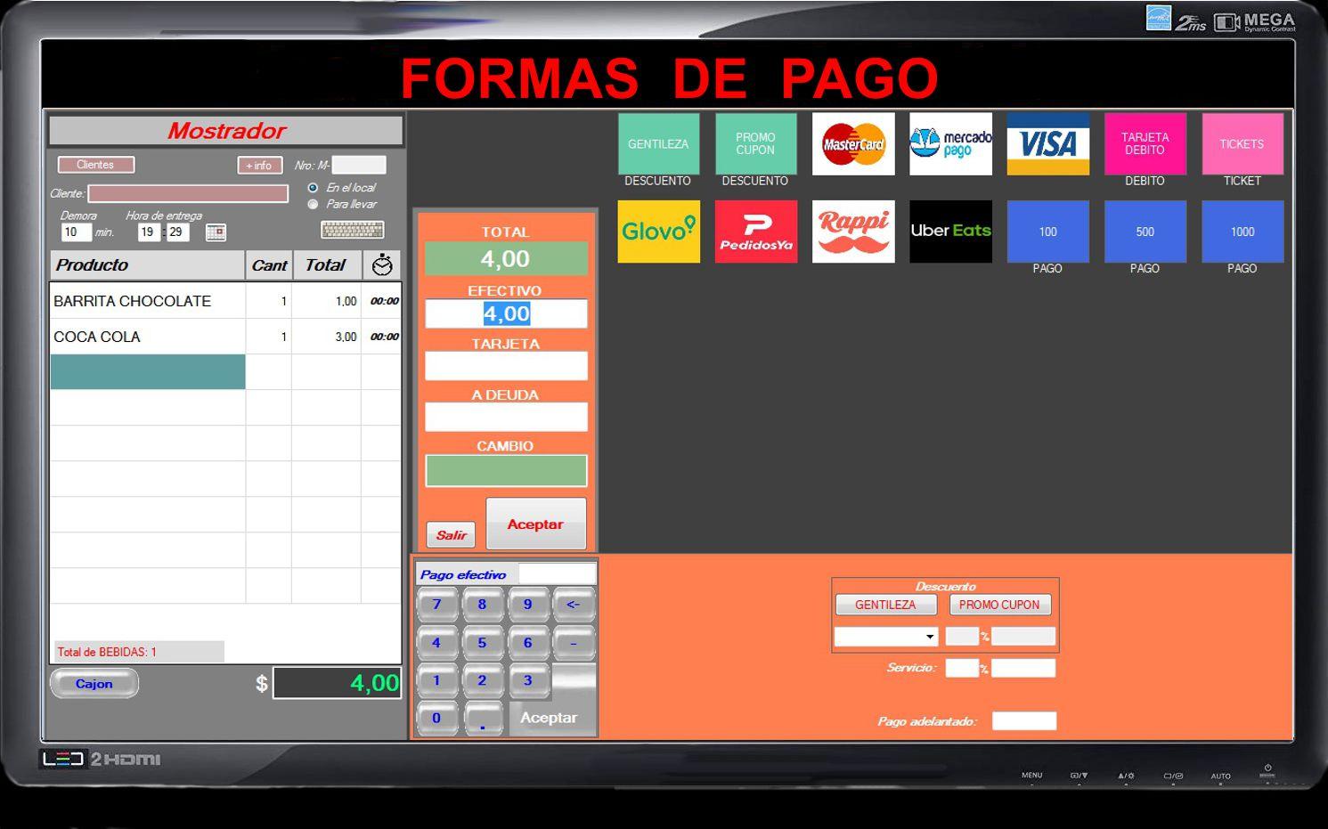 pantalla de ventas