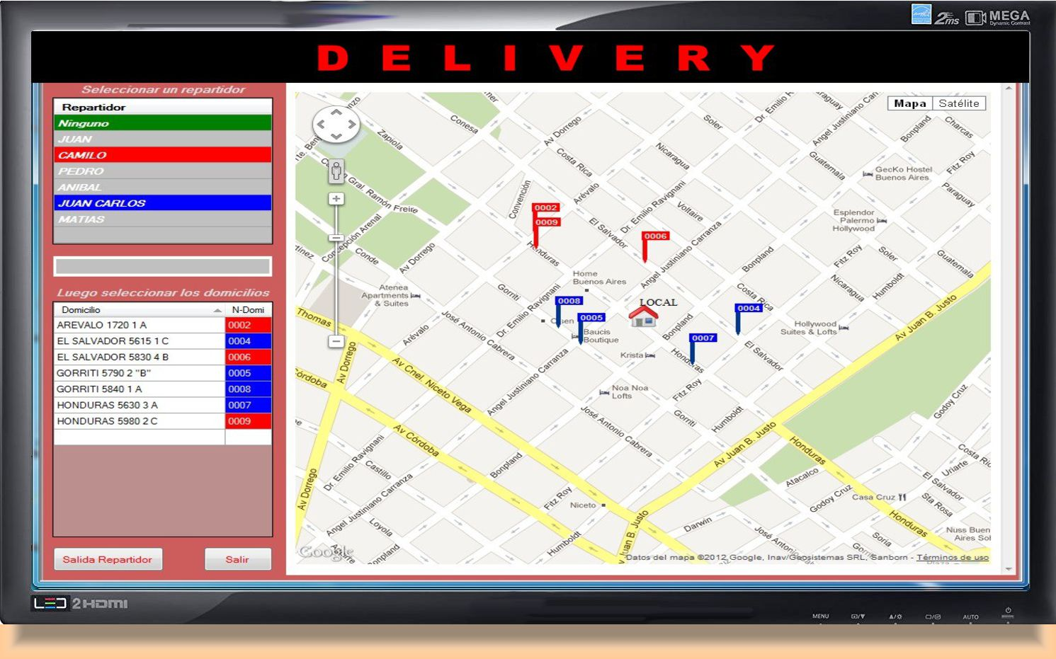 mapa delivery